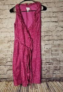 Loft-Ann-Taylor-Women-039-s-Dress-Size-6-Petites-Purple-Animal-Print-Wrap-Silk-t12