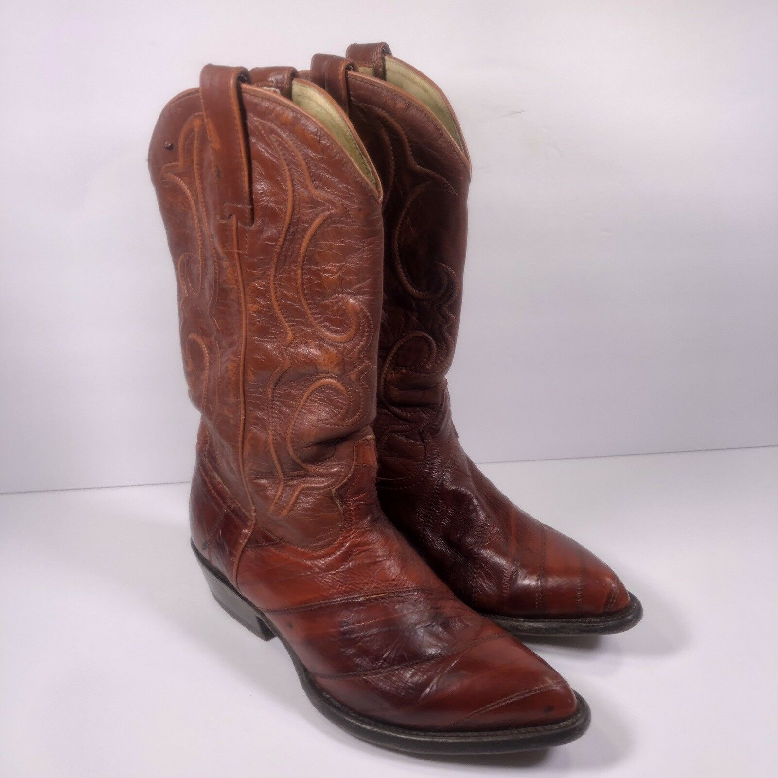 Los Altos Men's Genuine Authentic Eel Skin Burgundy Cowboy  Boots 7EE US