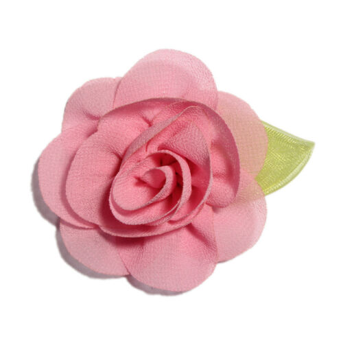 30p Rolled Fabric Chiffon Hair Flowers with Leaves for Hair Clips Accessories