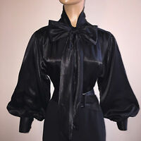 Black Shiny Liquid Satin Bow Blouse Top Vtg High Neck Shirt Usa S M L 1x 2x 3x