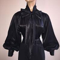 Black Shiny Liquid Satin Bow Blouse Top Vtg High Neck Shirt Usa S M L 1x 2x 3x