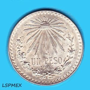 1922-1945-Mexican-XF-720-Silver-Un-Peso-Large-Cap-and-Ray-Random-Yrs-Coin