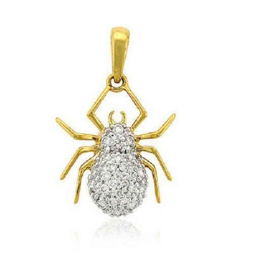14K Yellow gold Finish Round Cut Pave Diamond Spider Charm Pendant 2.00 Ct