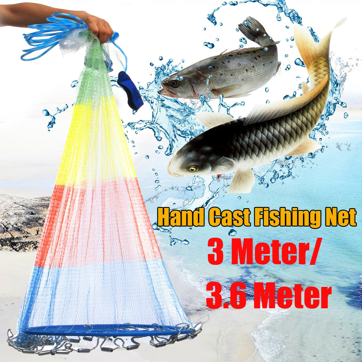 8 10 12FT colorful Throw Hand Cast Fishing Net Spin Network Bait Fish Net+Sinker