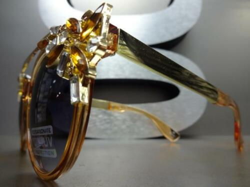 CLASSIC VINTAGE RETRO CAT EYE Style SUN GLASSES Amber /& Gold Frame Huge Crystals