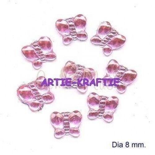 Pk 10 rose papillon gemmes pour cartes ou artisanat