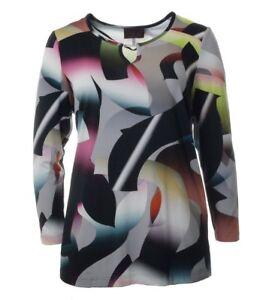 ausschnitt Piu T Bunt shirt Strass Langarmshirt Damen Herbstfarben Sempre Grau Y xRCpaqpwn