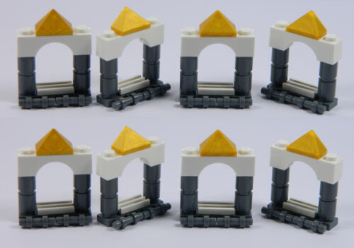 pack of 8 LEGO arch windows for princess house castle dark stone grey white *