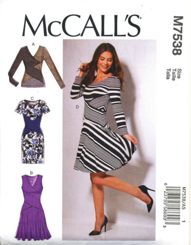 MCCALL/'S SEWING PATTERN 7538 MISSES 6-14 CROSS-OVER MIDRIFF BAND DRESS /& TOP