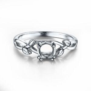 5.5-6.5mm ROUND CUT DIAMONDS SOLID 14K WHITE GOLD WEDDING SEMI MOUNT RING