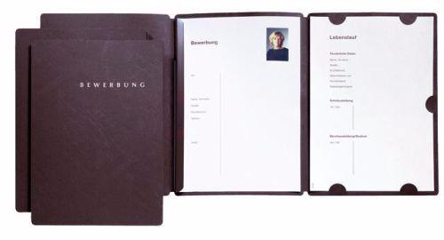 3x PAGNA Bewerbungsmappe Select schwarz zweifach aufklappbar hochwertiger Karton