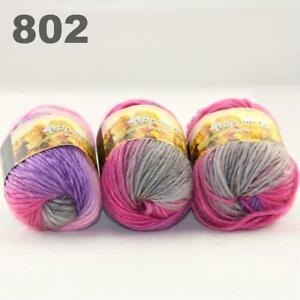 Sale-New-3-Skeinsx50g-Rainbows-Coarse-Hand-Knit-Quick-Wool-Yarn-Shawl-Scarves-02