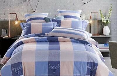 """Vornehm Satin Bettwäsche Set """"hirsch"""" Bettwaren, -wäsche & Matratzen Blau/beige Kariert Starke Verpackung Bettwäschegarnituren"""