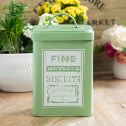 Retro Boîte à Biscuits cookie jar storage Tin Vert Bidon Accessoires Cuisine