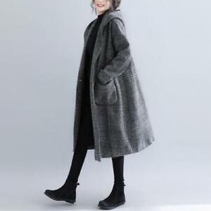 Womens-Korean-New-Fashion-Herringbone-Hooded-Wool-Blend-Coat-Jacket-Outwear-SKGB