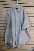 Lands End Mens Size 6xl Gray Short Sleeve Button Down Oxford Work Shirt