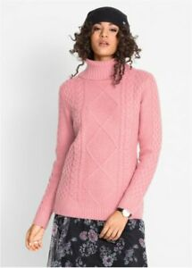 Dusky-Pink-Cable-Knit-Chunky-Polo-Neck-Jumper-Roll-Neck-Sweater