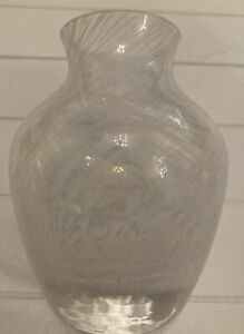 Vintage Art Glass White Speckle Swirl Bud Vase 10cm