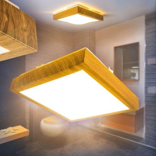 LED Deckenlampe Badezimmer Holzoptik eckig Raum Leuchten Quadrat Nassraum IP44