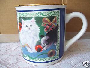 Rare Papel Freelance Cat & Dog Gold Rim Coffee Tea Mug Cup Good Condition