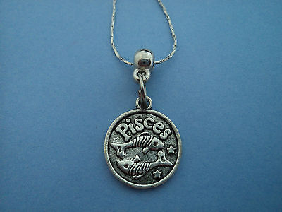 GIRLS SILVER TONE ZODIAC HOROSCOPE STAR SIGN DISC CHARM PENDANT NECKLACE,