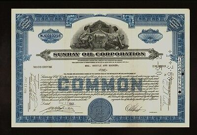 Stock certificate Consolidated Oil Corp 1930s Sinclair Oil Corp now blue
