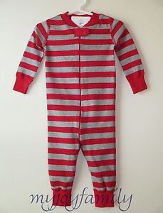 7b9e9f3d0b08 HANNA ANDERSSON Baby Organic Zip Sleeper Red Heather Grey Stripe 50 ...