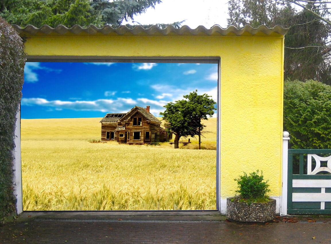 3D 3D 3D Prairie Hut 42 Garage Door Murals Wall Print Decal Wall AJ WALLPAPER AU Lemon 824ab5