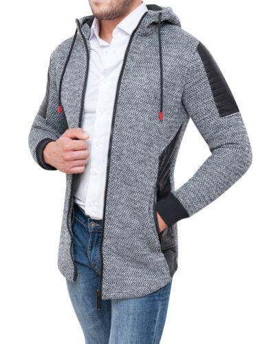 Tweed Casual Giubbotto Felpa Grigio Uomo Cappuccio Con Invernale Giacca Cardigan xABEa