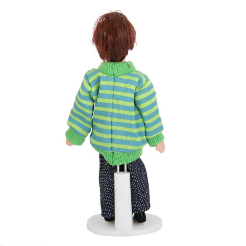 1:12 Dollhouse Miniature Porcelain Little Boy Poseable Ceramic Doll w// Stand