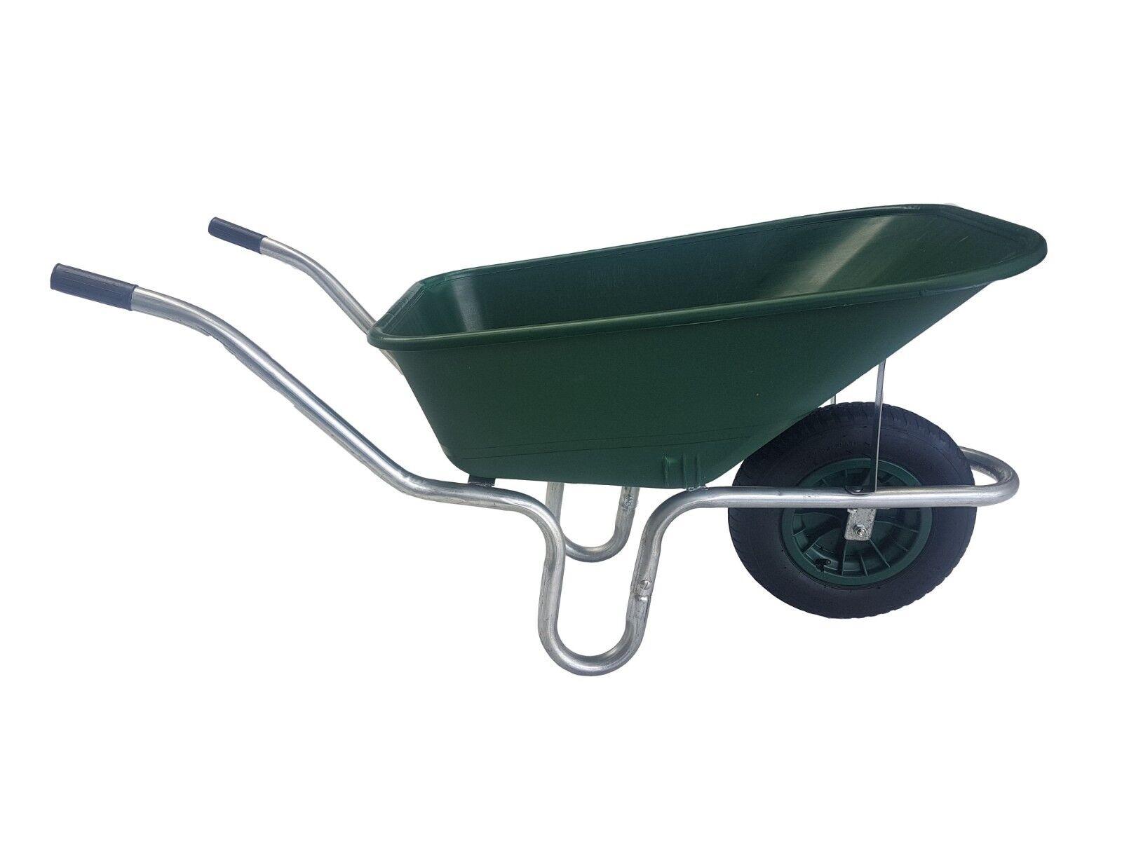 110 Litre GREEN WHEELBARROW Garden Equestrian Wheel Barrow  PNEUMATIC Wheel 110L