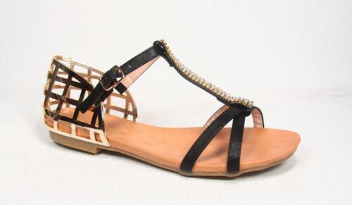 Women/'s Fashion Rhinestone T-Strap Flat Heel Buckle Sandal Shoes Size 5.5-10