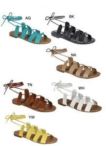 New Womens Flat Gladiator Sandal Shoe Self Tie Wrap Ankle Strap Lace ... 5006b9810