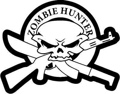 "ZOMBIE SKULL HUNTER Vinyl Decal Sticker-6/"" Wide White Color"