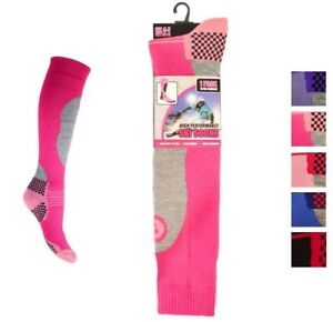New Ladies *3 Pair Value Pack* Thermal Padded Ski Socks Long Length Size UK 4-7