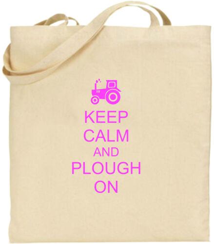 Keep Calm And Plough On Large Cotton Tote Shopping Bag Farming Fun Present Xmas