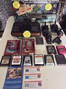 Vintage-Atari-2600-Wooden-Console-original-games-Combat-Air-sea-battle-amp-Box