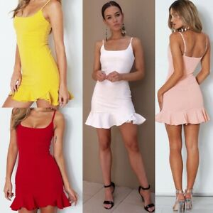 Sexy-Womens-Summer-Straps-Ruffled-Bodycon-Casual-Dress-Party-Short-Mini-Dresses