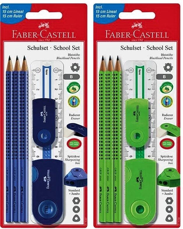 6-teilig mit Lineal blau Schulset Sleeve gro/ß Faber-Castell 217067