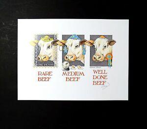 Simon-Drew-Print-Rare-Beef-Animal-Signed-Artist-Entertaining-Art-Large-Quirky