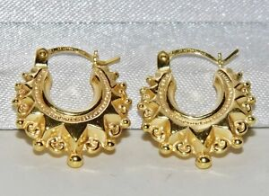 Image Is Loading 9ct Yellow Gold Victorian Style Gypsy Creole Earrings