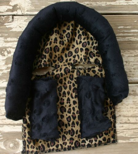 infant headsupport and matching strap covers leopard// cheetah and black minky