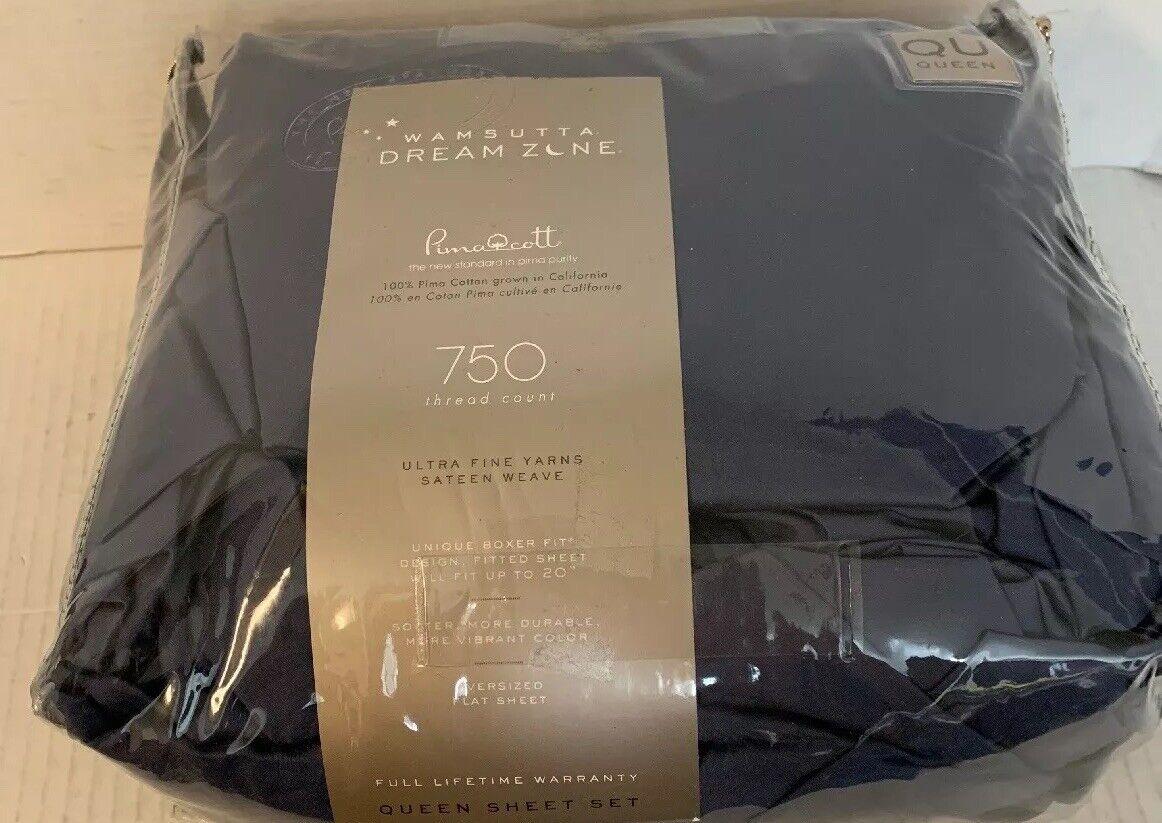 Wamsutta Dream Zone 750-Thread Count Pima Cotton Queen Sheet Set Solid Blau Jean