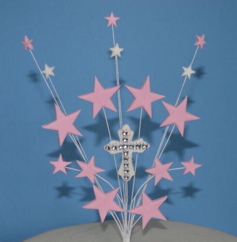 Première Sainte Communion Baptême Étoile Nom Cake Topper Croix Rose Bleu Argent