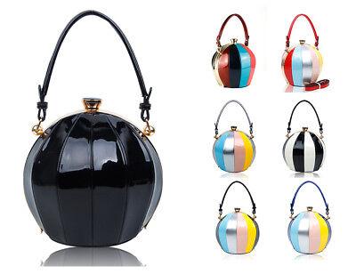 Ball Shape Shiny Leather Crystal Diamante Womens Shoulder Bag Clutch Handbag