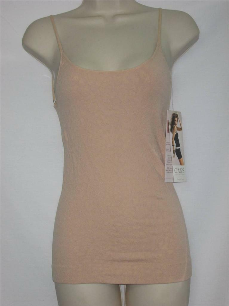 c64d42170b701 NWT CASS Luxury Shapewear Feather Friends Textured Cami Beige Nude Size S M