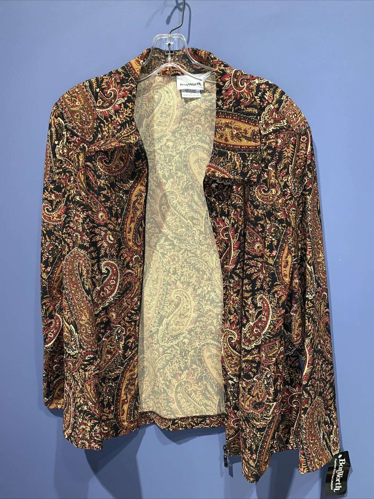 Bon Worth Women's Tapestry Full Zipper Jacket Size Small, 1990's Paisley, NWT
