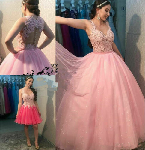 Pink Sweet 16 Lace Quinceanera Dresses New Birthday Ball Gown Detachable Skirt