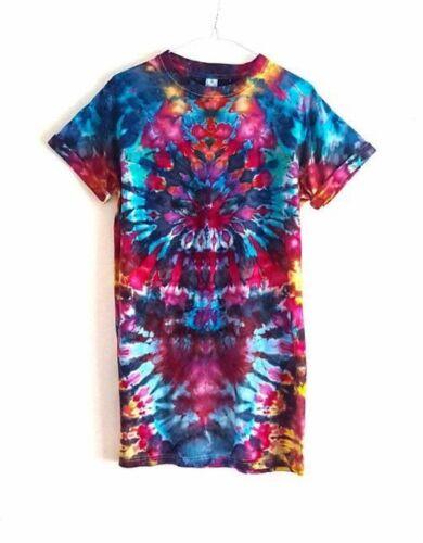 T-shirt Unisex Tie Dye Longline Festival Grunge Hipster Rainbow Long Length Top