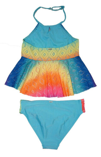 XOXO Girls Rainbow Crochet Top Tankini Swimsuit Size 4 5//6 6X 7 8//10 12//14 16